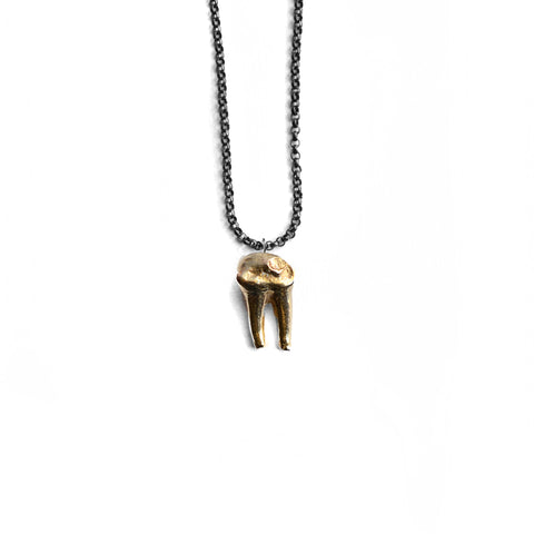 Cervidae Tooth Pendant . Brass