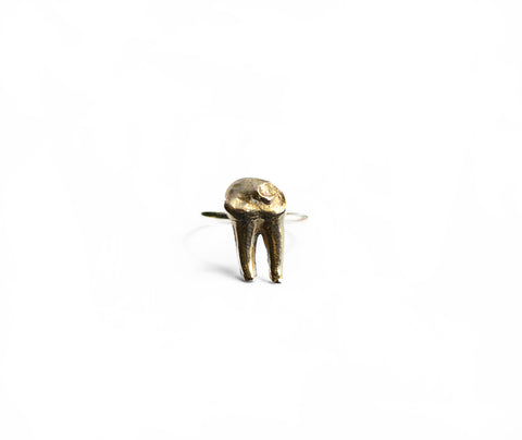 Cervidae Tooth Ring . Brass