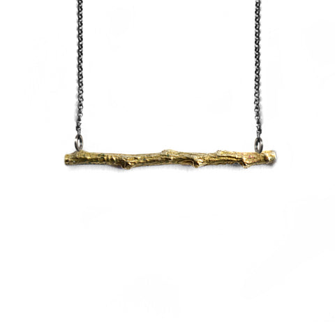 Twig Horizontal Necklace . Brass