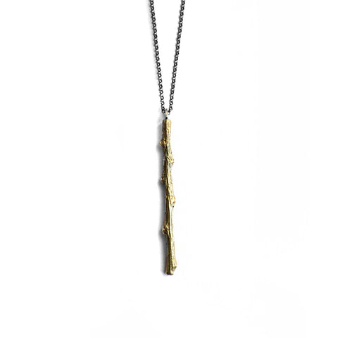 Twig Vertical Necklace . Brass