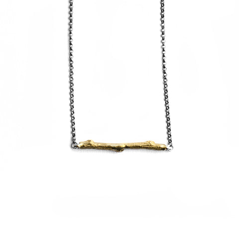 Petite Twig Horizontal Necklace . Brass