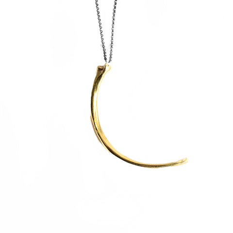 Wyvern Rib Necklace . Crescent . Brass