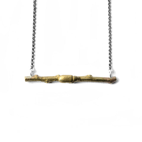 Darkling Beetle + Horizontal Branch Necklace Brass