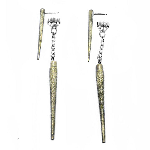 Double Sea Urchin Spike Earrings Birds N Bones Jewelry