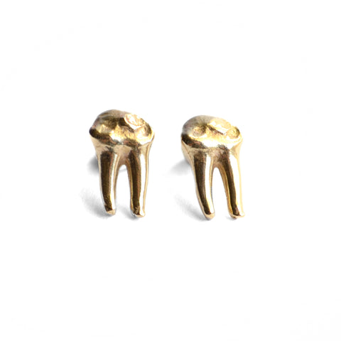 Cervidae Teeth Studs by Birds N Bones Jewelry brass