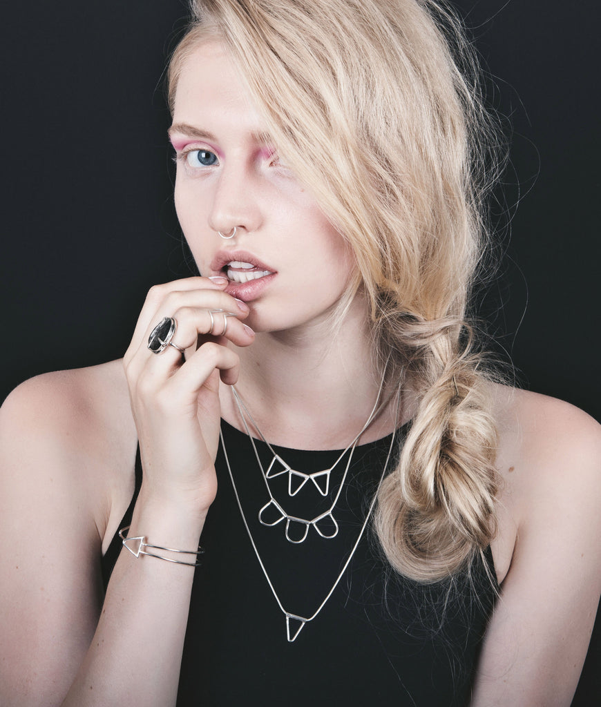 Spade Tube Necklace Trifecta by Birds N Bones Jewelry