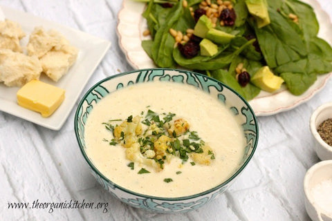 Roasted Cauliflower Soup and Spinach Salad