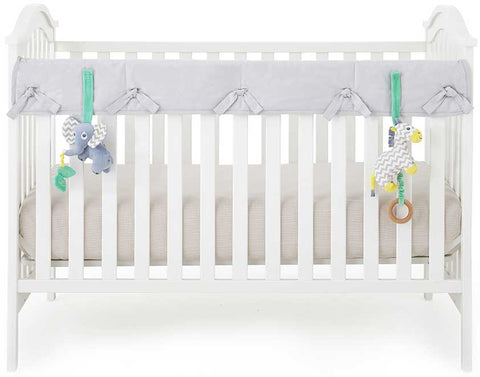 Eco-Teether Wide Organic Crib Rail Cover - Grey (Front/Back)