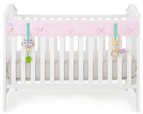 Eco-Teether Narrow Organic Crib Rail Cover - Pink (Front/Back)