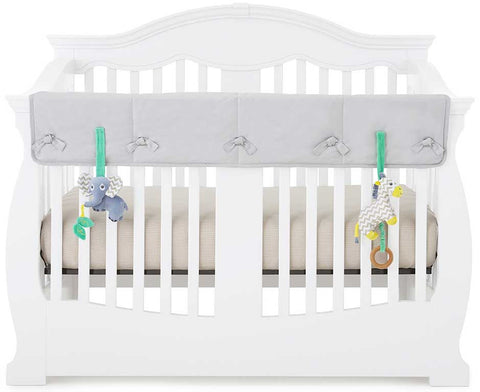 Eco-Teether Organic Crib Rail Cover Wide - Grey (Front/Back)