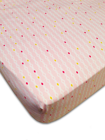 pink crib fitted nursery sheet, eco-friendly pink fitted sheet