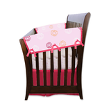 Blossoms & Dots Pink Organic Crib Rail Cover (Side Rails) - Set of 2