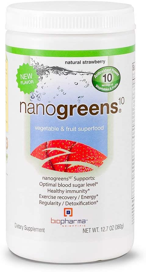 Biopharma Scientific NanoGreens Strawberry Powder - Medical Grade Nutrients