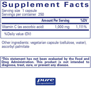 Pure Ascorbic Acid 250 CT - Medical Grade Nutrients
