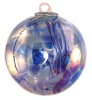 "Aqua Blues Witch Ball Iridized (6"")"