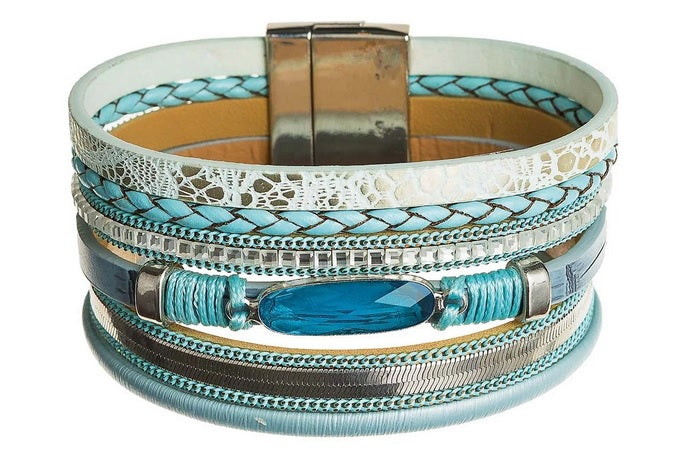 Blue Gem Leather Bracelet