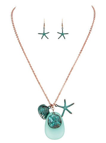 Copper Patina Green Glass Seaside Necklace Set