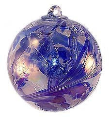 "Delft Blue Witch Ball Iridized (6"")"