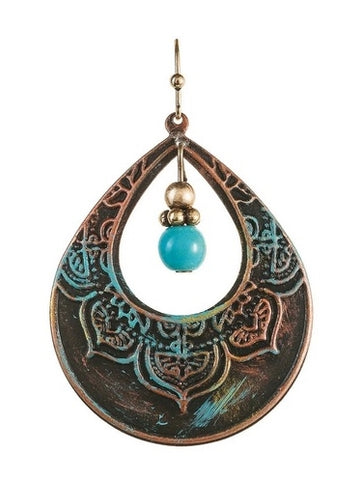 Fire Patina Turquoise Drop Earrings