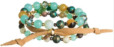 Gold Green Mixed Bead Bracelet