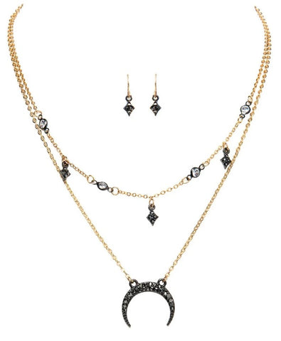 Gold Hematite Celestial Necklace Set
