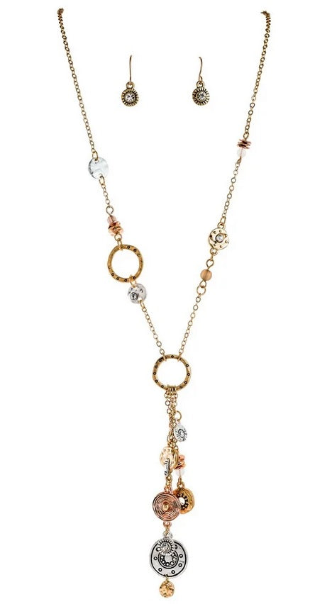 Multi Metal Charm Necklace Set