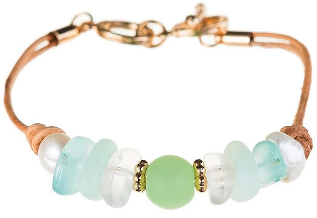 Multicolor Sea Glass Gem Bracelet