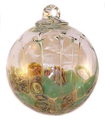 Pale Green and Old Gold Medusa Spirit Ball Iridized 6""