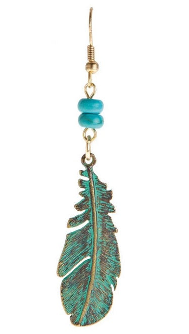 Patina Turquoise Feather Earrings