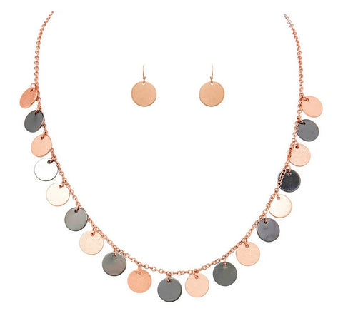 Rose Gold Hematite Discs Necklace Set