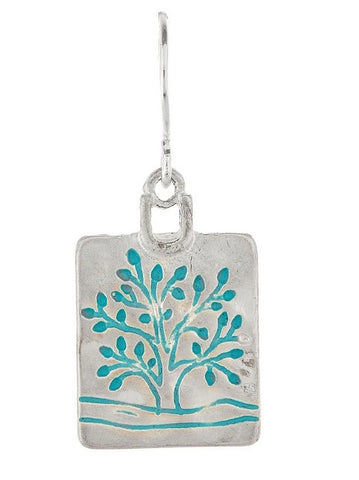 Silver Blue Square Tree Earrings