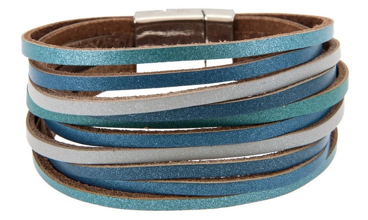Silver Metallic Blue Gray Magnetic Bracelet