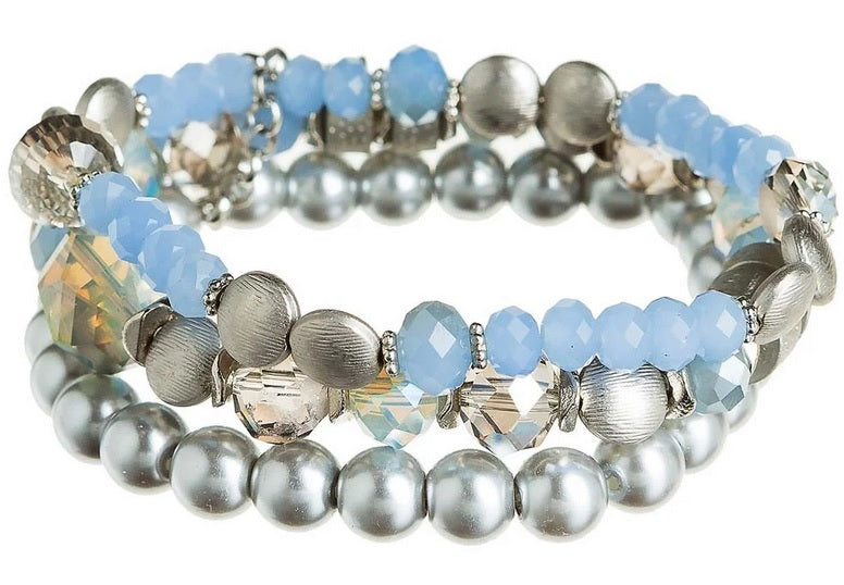 Silver Blue Grey Bead Bracelet