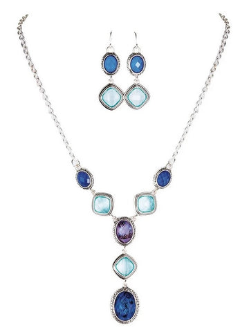 Silver Cool Tone Gem Necklace Set