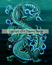 Eastern Sea Dragon by Theresa Mather -  8x10 inch ceramic tile