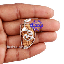 Load image into Gallery viewer, 1 Mukhi Rudraksha in Pure Silver Ganesha Pendant - Bead No. 24
