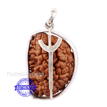 Load image into Gallery viewer, 1 Mukhi Rudraksha in Silver Trishul Pendant - Bead No. 27