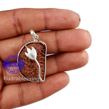 Load image into Gallery viewer, 1 Mukhi Rudraksha in Pure Silver Lotus Pendant - Bead No. 28
