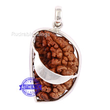 Load image into Gallery viewer, 1 Mukhi Rudraksha in Silver Moon Pendant - Bead No. 29