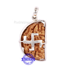 Load image into Gallery viewer, 1 Mukhi Rudraksha in Pure Silver Swastik Pendant - Bead No. 31