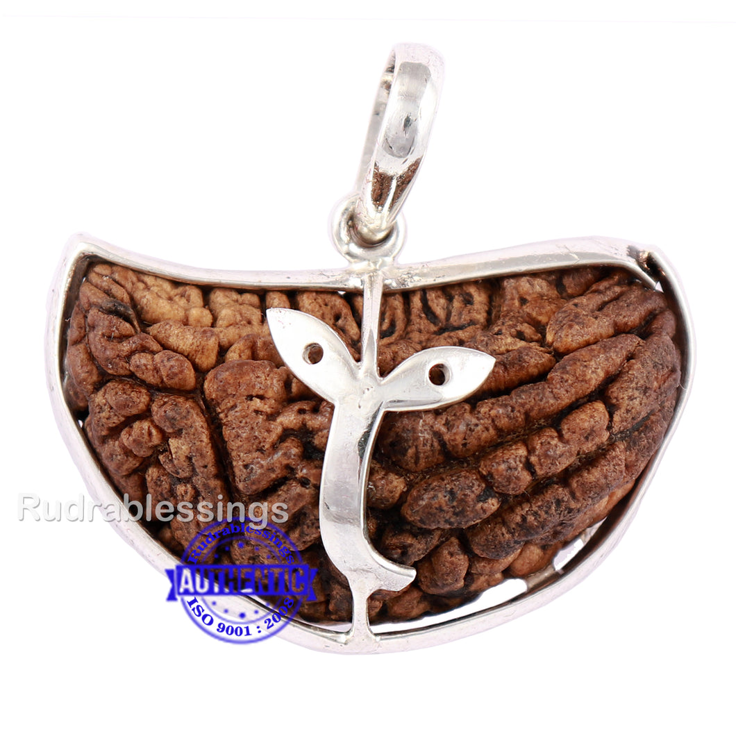 1 Mukhi Rudraksha in Pure Silver Durga Eye Pendant - Bead No. 33