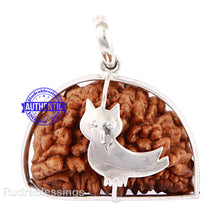 Load image into Gallery viewer, 1 Mukhi Rudraksha in Pure Silver Owl Pendant - Bead No. 37