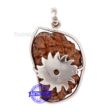 Load image into Gallery viewer, 1 Mukhi Rudraksha in Pure Silver Chakra Pendant - Bead No. 46
