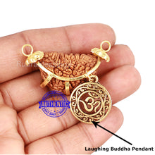 Load image into Gallery viewer, 1 Mukhi half moon shaped from India with Lucky Charm OM - Bead No. 180