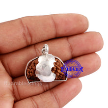 Load image into Gallery viewer, 1 Mukhi Rudraksha in Pure Silver Nandi Pendant - Bead No. 62