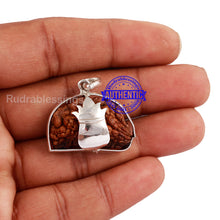 Load image into Gallery viewer, 1 Mukhi Rudraksha in Pure Silver Kalash Pendant - Bead No. 63