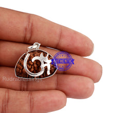 Load image into Gallery viewer, 1 Mukhi Rudraksha in Pure Silver OM Pendant - Bead No. 65