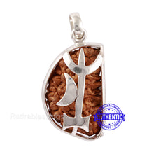 Load image into Gallery viewer, 1 Mukhi Rudraksha in Pure Silver Trishul Pendant - Bead No. 66