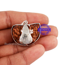Load image into Gallery viewer, 1 Mukhi Rudraksha in Pure Silver Shiva Pendant - Bead No. 71