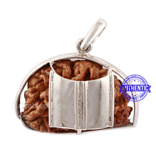 Load image into Gallery viewer, 1 Mukhi Rudraksha in Pure Silver Damru Pendant - Bead No. 72